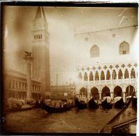 ITALIE Venise Place Saint-Marc Effet Artistique, Photo Stereo Vintage Plaque