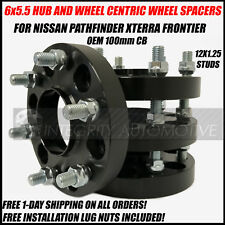 6x5.5 Hub Centric Wheel Spacers 1 Inch 12x1.25 For Nissan Frontier Xterra 100cb