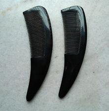 QiaoYaTou Nice 100% Natural Black Ox Horn Fine-toothed Health Care Comb