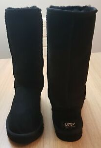 UGG Australia Black Suede Classic Tall Boots Size UK 6 US 8