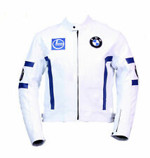 Handmade Men's White Leather BMW Biker Jacket
