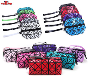 Fashion Geometric zipper cosmetic Bag Diamond Ladies cosmetics makeup Bag UK