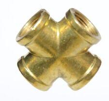 3/8 Female Npt 4 Way Cross Brass Pipe Fitting Vacuum Fuel Air Water Oil Gas