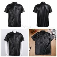 Men's Faux Leather T-shirt Tank Tops Tee Shirt Short Sleeve Crop Blouse Clubwear