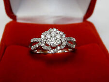 1/2 CT Diamond Flower Cluster Engagement Anniversary Ring 10k White Gold Sz 7