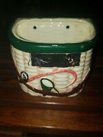 Vintage Rubens Originals Fishing basket creel Planter fisherman