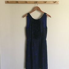 J. Crew Collection 100% Silk Black & Blue Lined Dress Sleeveless Ruffles Size 6