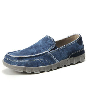 Mens Canvas Shoes Slip on Driving Moccasins Breathable Loafers Walking Casual D