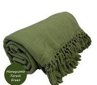 Green Honeycomb WAFFLE 100% Cotton SOFA / SETTEE / BED Throw + Tasselled Edging