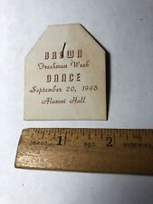 Vintage 9/20/1946 Freshman Week Dance Announcement Card Brown University