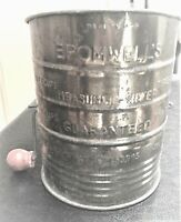 Vintage Bromwell's 3 Cup Flour Measuring Sifter Metal with Wood Knob on Crank
