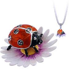 "Enameled Ladybug On Flower ""Secrets"" Trinket Box With Hidden Pendant Inside!"