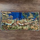 Vintage P & C Italy Woven Velvet Pheasant Tapestry Wall Hanging Size 38x19
