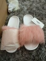 Ugg Fluffy Slippers Sliders Mules Sandals. W Royale. Bany Pink. Uk Size 4.