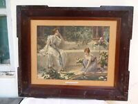 "Conrad Kiesel Paintings Lithograph Print Frame ""Rival Lilies"" Germany Art Rare*F"