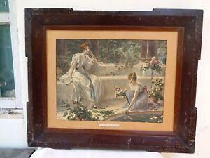 "Conrad Kiesel Paintings Lithograph Print Frame ""Rival Lilies"" Germany Art Rare F"