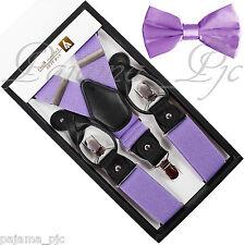 New Mens Convertible Suspenders Adjustable Elastic Braces And Pretied Bow tie
