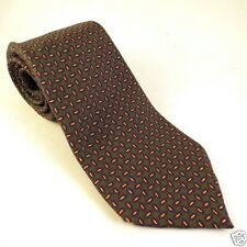 Lands End 100% Silk Tie Mens Neck Olive Green Small Print T3 Small Print