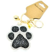 Pave Crystal Accent 3D Stuffed Pillow Pawprint Paw Print Keychain Key Chain