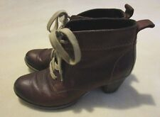 Remonte Brown Leather Lace-Up Lined Block Heel Ankle Boots  - Size 7.5 M (EU 38)