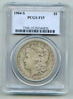 1904 S Morgan Silver Dollar PCGS F 15