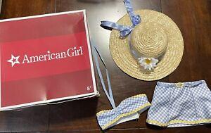 American Girl Emily Beach Swim Swimsuit Bikini Straw Hat Outfit 3 Piece Set &Box
