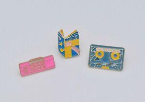 Sale – Set of 3 Retro Design Enamel Brooch Pin Badge