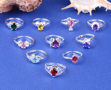 Women's 10pcs 925 Sterling solid Silver Ring CZ mixing Rings Size 6-10