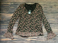 Women's Lucky Brand Floral Long Sleeve Shirt Blouse Knit Top Size Small NEW $59