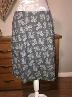 Seasalt Coppersmith Ladies Grey Cord Floral Skirt Size 10