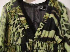 "Pure Silk Sara Bernshaw ""Rare!""  hand made Green animal print dress size 14"
