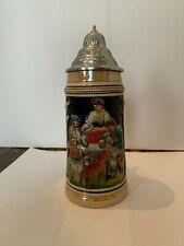 Vintage West Germany Lidded 0.5 L Beer Stein Hunting Dog Scene