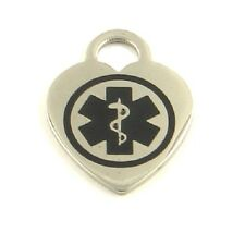 Stainless Medical ID Heart Charm Pre Engraved EPILEPSY 7 Emblem Color Choices