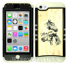 For Apple iPhone 5c KoolKase Hybrid Armor Silicone Cover Case - Horse Wood Light