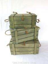 Wood Box Set 3 Nested Timber Crate With Lid Rustic New