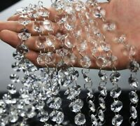 3FT Clear Crystal Chandelier Lamp Wedding Part 14mm Octagon Bead Silver Chain