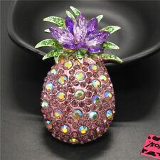 Betsey Johnson Charm Brooch Pin Gift New Purple Cute Fruit Pineapple Crystal