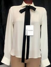 Valentino Blouse Ivory Silk Black Tie Long Sleeve Size 4 NWT $1750