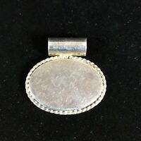Vintage ATI Mexico Sterling Silver Pendant Blank Oval Engravable Scroll Oval