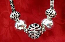 BEAUTIFUL RARE 925 STERLING SILVER FIVE FLOATING BALLS FILIGREE NECKLACE
