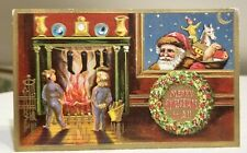 Children watching Fire Place, while Santa looks in Window. Xmas Postcard. 1908
