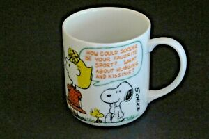 Vintage Peanuts  Mug with Linus, Sally and Woodstock Discussing Soccer