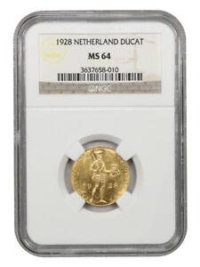 1928 Netherlands Gold Ducat NGC MS 64