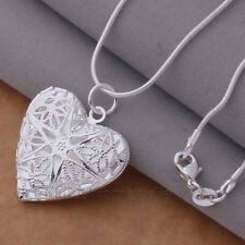 FILIGREE HEART OPEN LOCKET Silver Plate Pendant Necklace PHOTO PICTURE Valentine