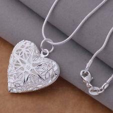 Filigrana corazón abierto Relicario Plata Placa Colgante Collar Foto San Valentín