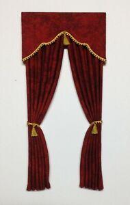 Dark Red Dollhouse Curtains  -1:12 scale