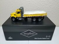 Mack Granite Flatbed Truck - Yellow - Sword 1:50 Scale Model #SW2102-Y New!