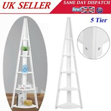 Home White 5 Tier Tall Corner Shelf Ladder Shelving Shelves Book Display Stand