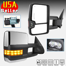 Chrome Tow Mirrors for 03-07 Chevy Silverado Power Heated Amber Signal Clearance