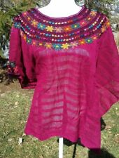 Huipil Mexican Blouse Top Sheer Embroidered Beach Chiapas One Size S M L XL A29